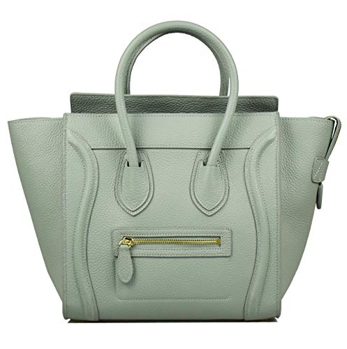 Esyuel Women's Genuine Leather Smile Bag Top Handle Handbag Purse (Medium, Grey Blue)