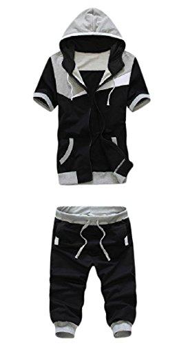 Yayu Men's Fashion Color Hooded Zipper Short Sleeve Tracksuit Jog Set Light Grey L