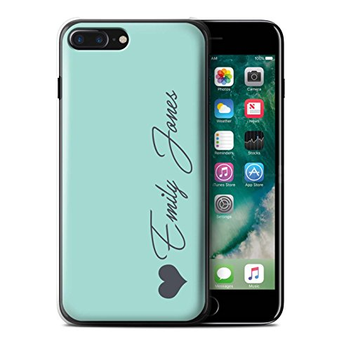 Personalized Custom Pastel Tones Case for Apple iPhone 8 Plus/Turquoise Heart Design/Initial/Name/Text DIY Cover]()