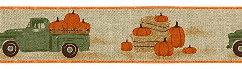 2.5'' Green Vintage Truck with Pumpkins: Natural Expressions Brand Wired Edge Vintage Truck Ribbon RG0183618 (Natural) by Expressions