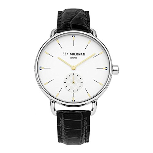 Ben Sherman Men's Analog-Quartz Watch with Leather Strap, Black, 18 (Model: WB063WB) (Ben And Sons Mens Watch)