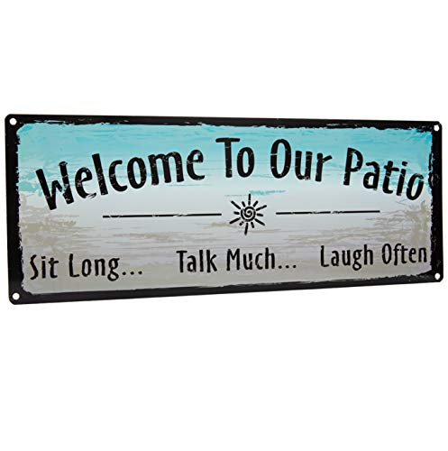 Homazing Rustic Metal Sign - Welcome to Our Patio Sign - Patio Wall Art, Outdoor Wall Decor, Patio Decor, Porch Decor, Metal Decor for Patio, Outdoor Metal Wall - Rustic Metal Sign