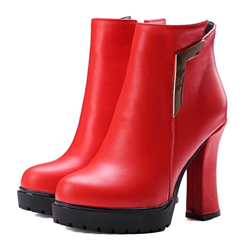 Women's Boots LongFengMa Platform Glitter Toe Red Round Ankle Heel Heel Shoes Block High drpqcWwnFp
