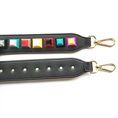 Strap Wide Handbags Shoulder Guitar Purse 4CM Rivet Strap Replacement Strap Style Lam for Gallery 90CM Bags Black Size Colorful wt5AzH