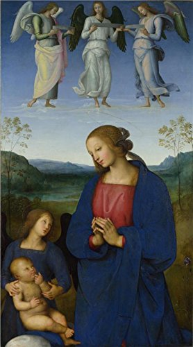 'Pietro Perugino-The Virgin And Child With An Angel,about 1496-1500' Oil Painting, 8x14 Inch / 20x37 Cm ,printed On Perfect Effect Canvas ,this Imitations Art DecorativeCanvas Prints Is Perfectly Suitalbe For Home Office Decoration And Home Decoration And Gifts