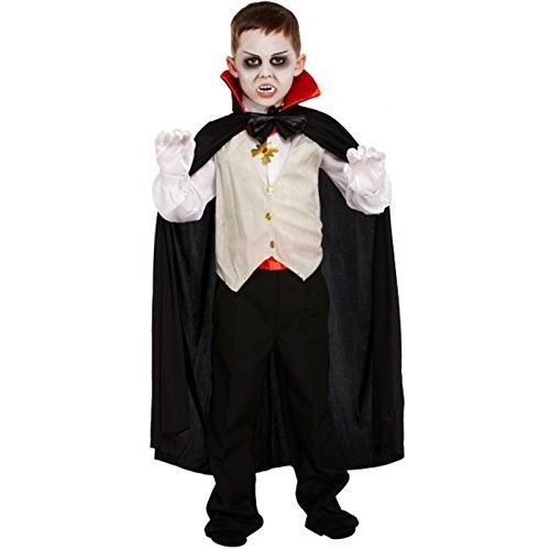 Vampire Classic Costume Dracula Cape Kids Childrens Boys Halloween Fancy Dress Outfit (10-12 years)