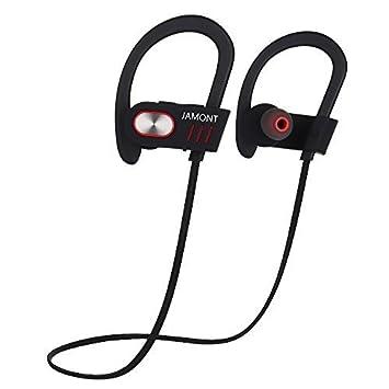 Jamont auriculares Bluetooth inalámbrico auriculares deportivos IPX4 impermeable auriculares auriculares a prueba de sudor V4.1 integrado Clear Bass ...