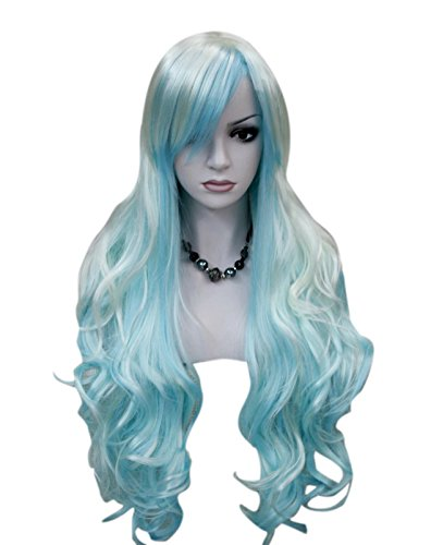 Kalyss women's wigs Long Curly White Blue cosplay wigs (Curly Blue Wig)