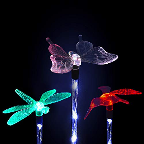 Solarmks Garden Solar Lights Outdoor Decorative - 3 Pack Multi-color Changing LED Landscape Solar Lights, with a White LED Stake Light Butterfly Hummingbird Dragonfly for Garden Patio Pathway ()