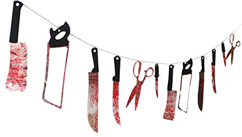 bluecookies Bloody Weapons Garland Props for Halloween Decorations 24 m 12 Piece