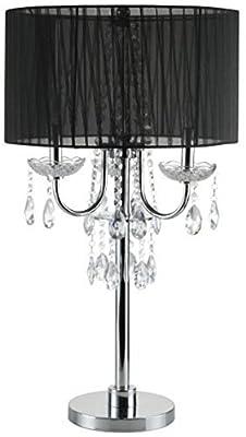 """SH Lighting 6733T-BK(U) Crystal Inspired 3-Bulb Table Touch Lamp, 29.5""""H, Black/Chrome"""