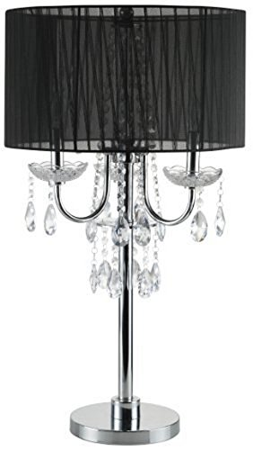 SH Lighting 6733T-BK(U) Crystal Inspired 3-Bulb Table Touch Lamp, 29.5