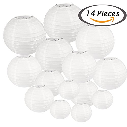 Selizo 14 Packs White Paper Lanterns with Assorted Sizes for Party Decoration - Jumbo Hanging Lantern