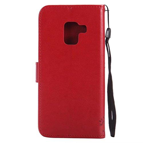 Galaxy A82018móvil, Samsung Galaxy A82018móvil, cowx PU Funda de piel para Samsung Galaxy A82018funda Árbol para gatos Rojo