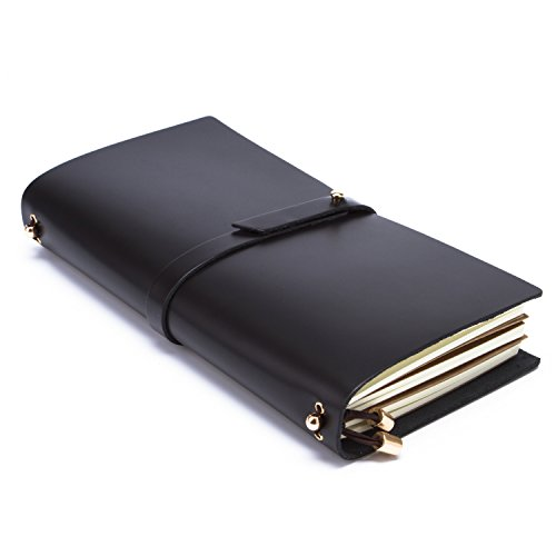 Leather Journal Writing Notebook, Antique Handmade Leather Bound Daily Notepad For Men & Women - L Size: 8.66 x 5.12 (Mens Agenda)