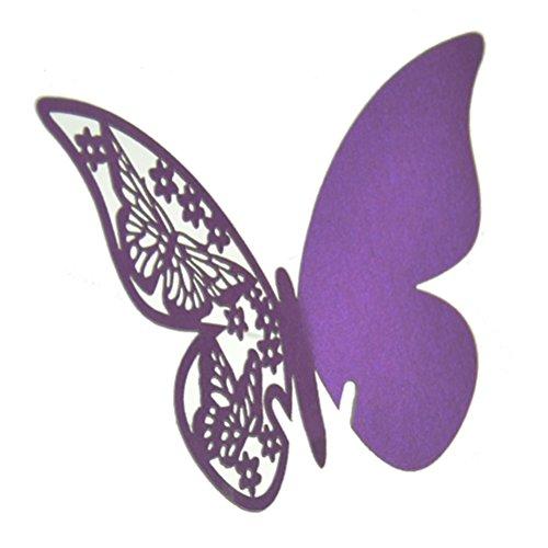 Table Mark Wine Glass Cards Favor Butterfly Purple - 1