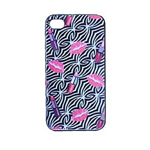 Mini - Embossment Lipstick Grind Arenaceous Plastic Back Case for iPhone 4/4S