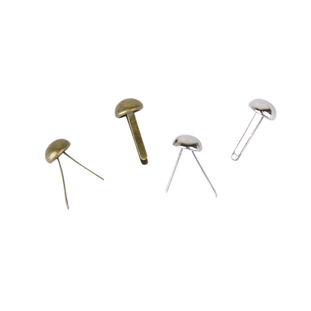 200 pezzi Mini Round Scrapbooking // Craft Iron Brads R TOOGOO Ottone Antico e Argento