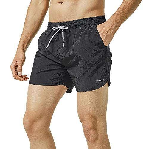 MaaMgic Mens Slim Fit Shorts Quick Dry Swim Trunks with Mesh Lining Male Bathing Suits,XX-Large(Waist:36-38),Black