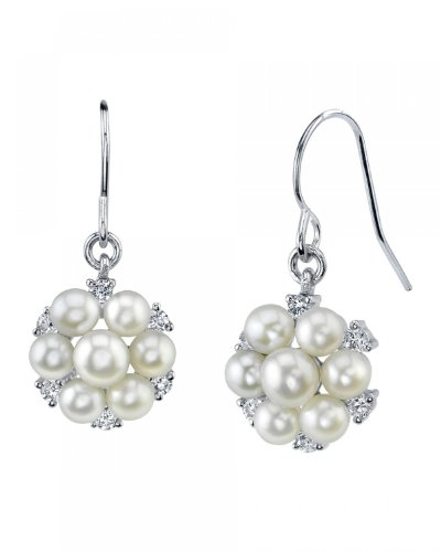 THE PEARL SOURCE 4-5mm Genuine White Freshwater Cultured Pearl Cluster Earrings for ()