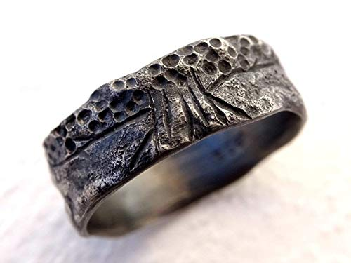 Tree of Life Ring Black Silver, Rustic Viking Ring, Celtic Wedding Band, Matching Wedding Rings, Mens Wedding Band Organic, Meteorite Ring