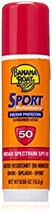 Banana Boat Sunscreen Sport Performance Broad Spectrum Sun Care Sunscreen Stick - SPF 50, 0.55 Ounce (Pack of 4)