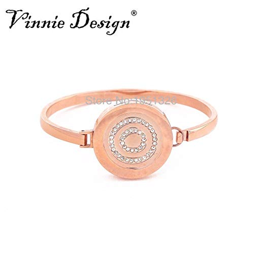Stainless Steel Rose Gold Cuff Bangles | with 25mm Coin 7cm Diameter Magnet Bracelets & Bangles