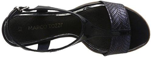 Marco Tozzi 28732, Sandalias con Cuña para Mujer Azul (Navy Stru.comb 830)