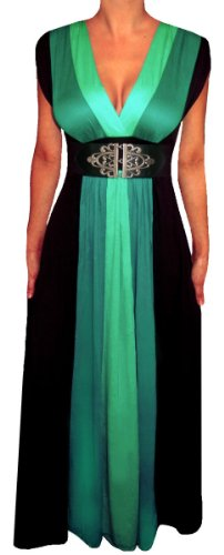 Funfash Plus Size Women Green Black Color Block Maxi Dress Made in USA 2x 22 24