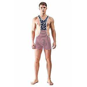 F plus R Men's American Flag Wrestling Singlet