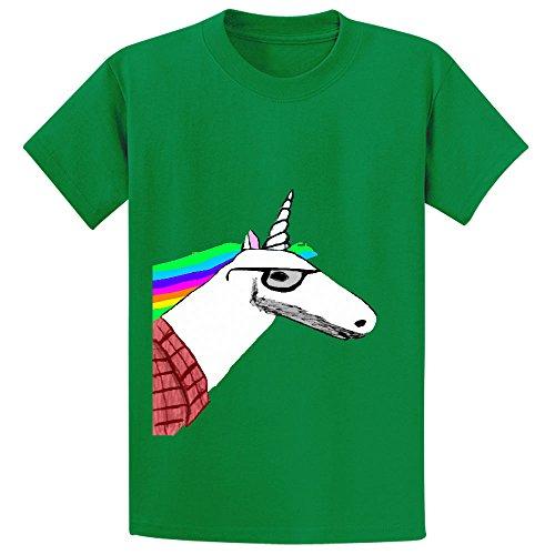 Hipster Unicorn Unicorn Youth Crew Neck Print Shirts (Schmidt Beer Glasses)