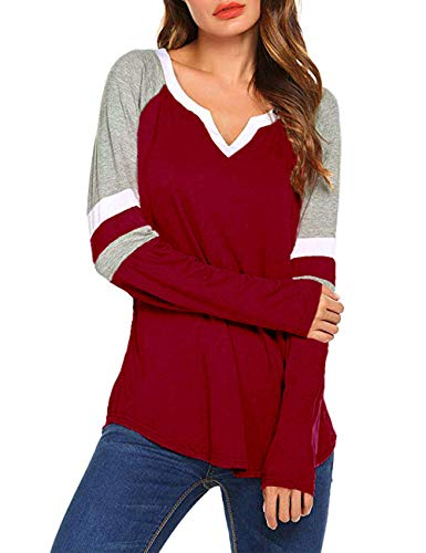 MuCoo Women's Long Sleeve V Neck Raglan Shirts Loose Blouse Tops Casual Striped Tunic Tee Shirts Wine Red 2XL ()