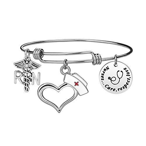 Nurse Bangle Bracelet Gifts - Women Girl Expendable Caduceus Angle Charm Bracelet Nursing Jewelry Nurs Bracelet Christmas Birthday Graduation Gift, Stainless Steel, With Free Gift Box (Nurse Bracelet)