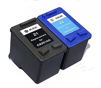 Amazon.com: 2PK C9351 A C9352 A cartucho de tinta para HP 21 ...
