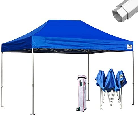 Eurmax Pro 10×15 Pop Up Canopy Wedding Party Tent Instant Outdoor Gazebo Pavilion Canopies BBQ Cater Events Aluminum Frame Commercial Grade Bonus Roller Bag,Blue