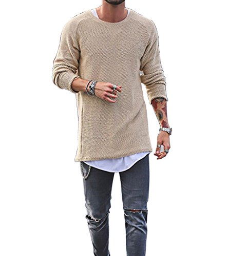 Moore Men Sweater Knitted Pullover Baggy Crewneck Casual Long Sleeve Hip-Hop Solid Color (Apricot, XL)