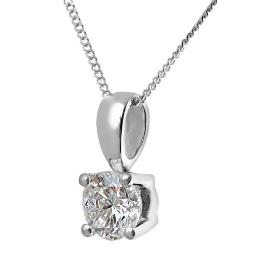 Revoni Bague en or blanc-18carats-Collier Femme-Pendentif Solitaire diamant, diamant H/SI
