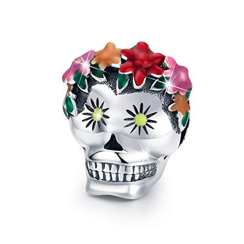 BAMOER 925 Sterling Silver Floral Skull Bead Charm Bead Fit Original Bracelet Women Gift
