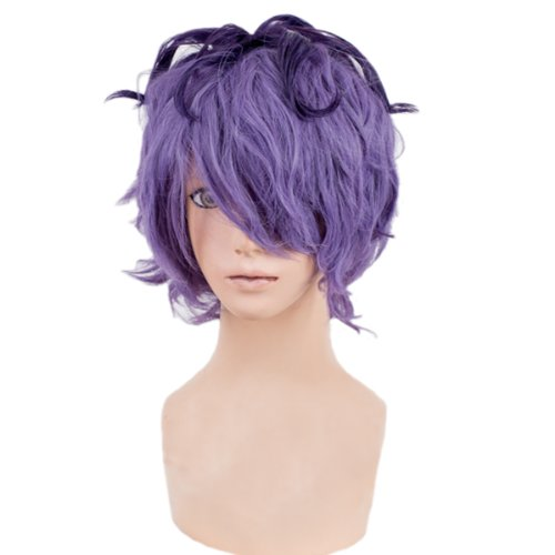 [Angelaicos Men's Curly Halloween Cosplay Costume Party Wig Short Purple] (Top 10 Curly Hair Halloween Costumes)
