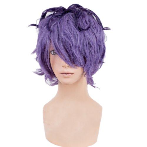 Angelaicos Men's Curly Halloween Cosplay Costume Party Wig Short Purple