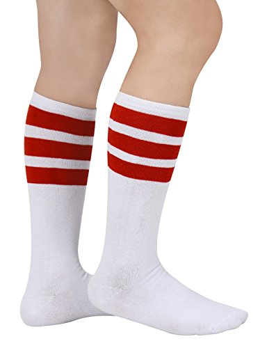 Eleray 1 to 3-Pack Classic Triple Stripes Soft Cotton Knee High Tube Socks (a-Pairs(Red/White))