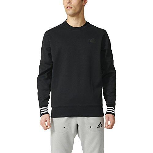 adidas Men's Sport ID Bonded Fleece Pullover Crew Black/Black/White Sweatshirt (Bonded Fleece Pullover)