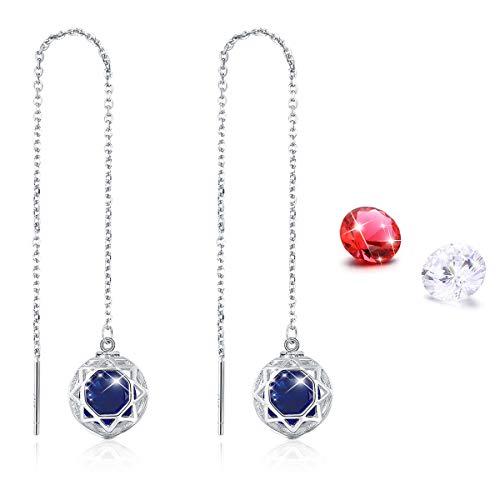 925 Sterling Silver Threader Earrings for Women Girls, 3 Colors CZ Dangle Earrings Long Chain Thread Link String Earrings Dangling Drop Earrings Mother