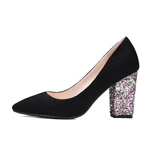 talón Moda punta corte grueso talón de de las con negro Toe purpurina Talón noche mujeres Bomba de zapatos nprwaAnx