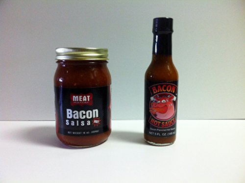 MEAT MANIAC Bacon Sauce Lovers Combo Gift Pack- Meat Maniac Bacon Salsa (16oz) & Bacon Hot Sauce - Pack Salsa Gift