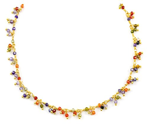 (14k Gold Filled Multiple Gemstone Necklace Cluster Semi Precious Beaded Goldtone Chain, 18