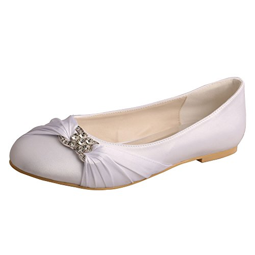 Con Zapatos Bodas Satinados Y Ballet Tipo Redonda Mw757 Blanco Decoración Modelo Noche Sin De Taco Punta Wedopus Para Fiestas Brillantes O FnxnWz