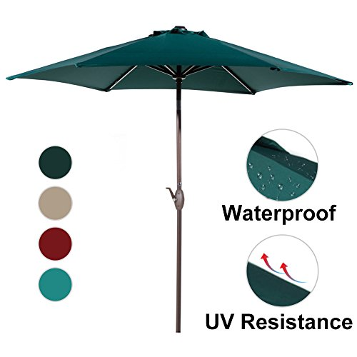 Abba Patio Outdoor Patio Umbrella 9-Feet Aluminum Market Table Umbrella with Push Button Tilt and Crank, Dark Green