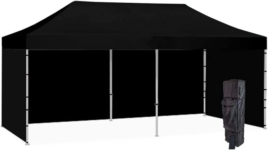 Vispronet 10×20 Black Canopy Tent Kit Resists up to 25mph Wind Gusts Includes Commercial Grade Steel 10×20 Frame, Water-Resistant Top, Backwall and 2 Sidewalls, Roller Bag, and Stake Kit
