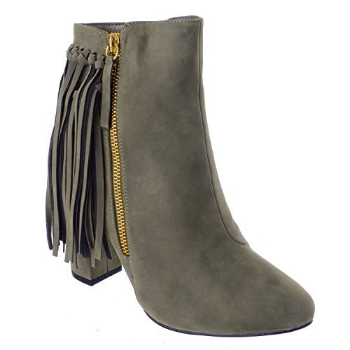 Womens Ladies UK borla Caqui up Tamaño con zapatos Zip Image Botines Chelsea Block MID HIGH Miss Suede de Heel de Faux Eq7t5z